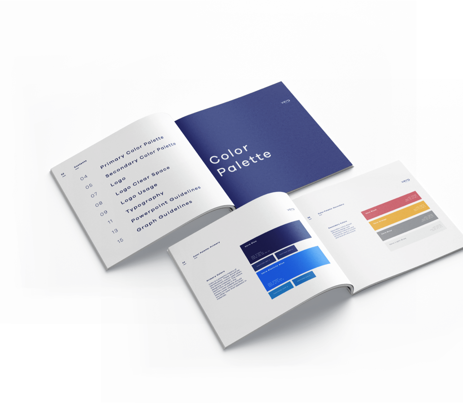 brand guide showing color palette pages