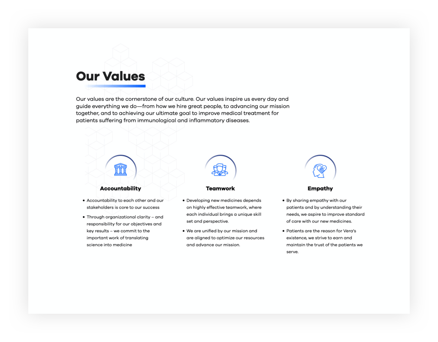 Screenshot - Our Values page