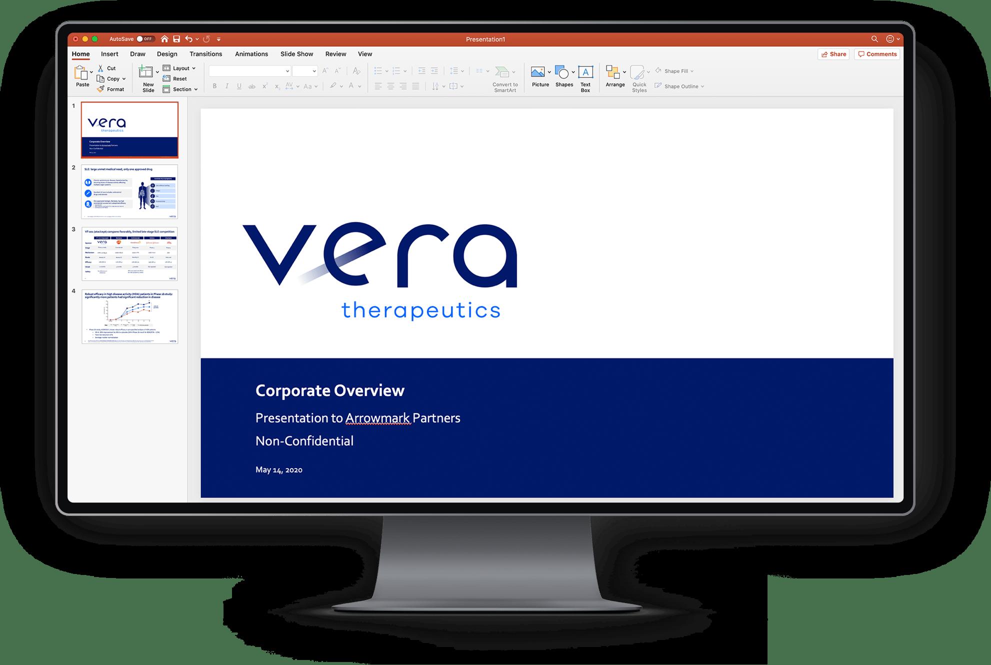 Desktop monitor with Vera powerpoint