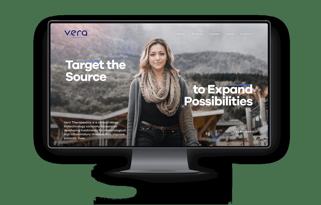 VeraTX homepage on desktop monitor