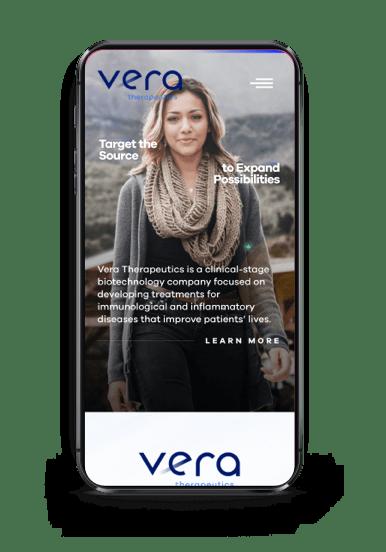 VeraTX homepage on mobile screen