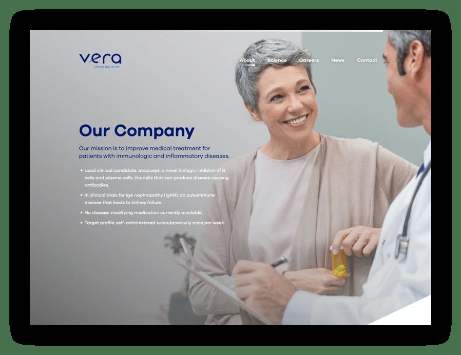 Screenshot - Our Company web page