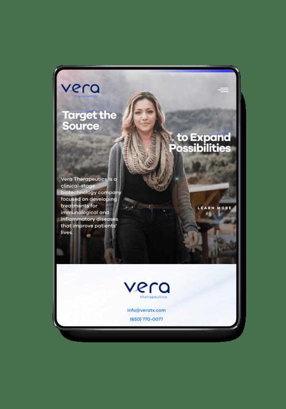 VeraTX homepage on tablet