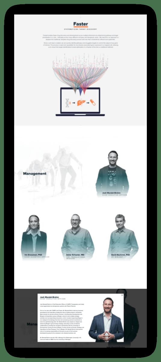 CAMP4 Website screenshot - leadership team