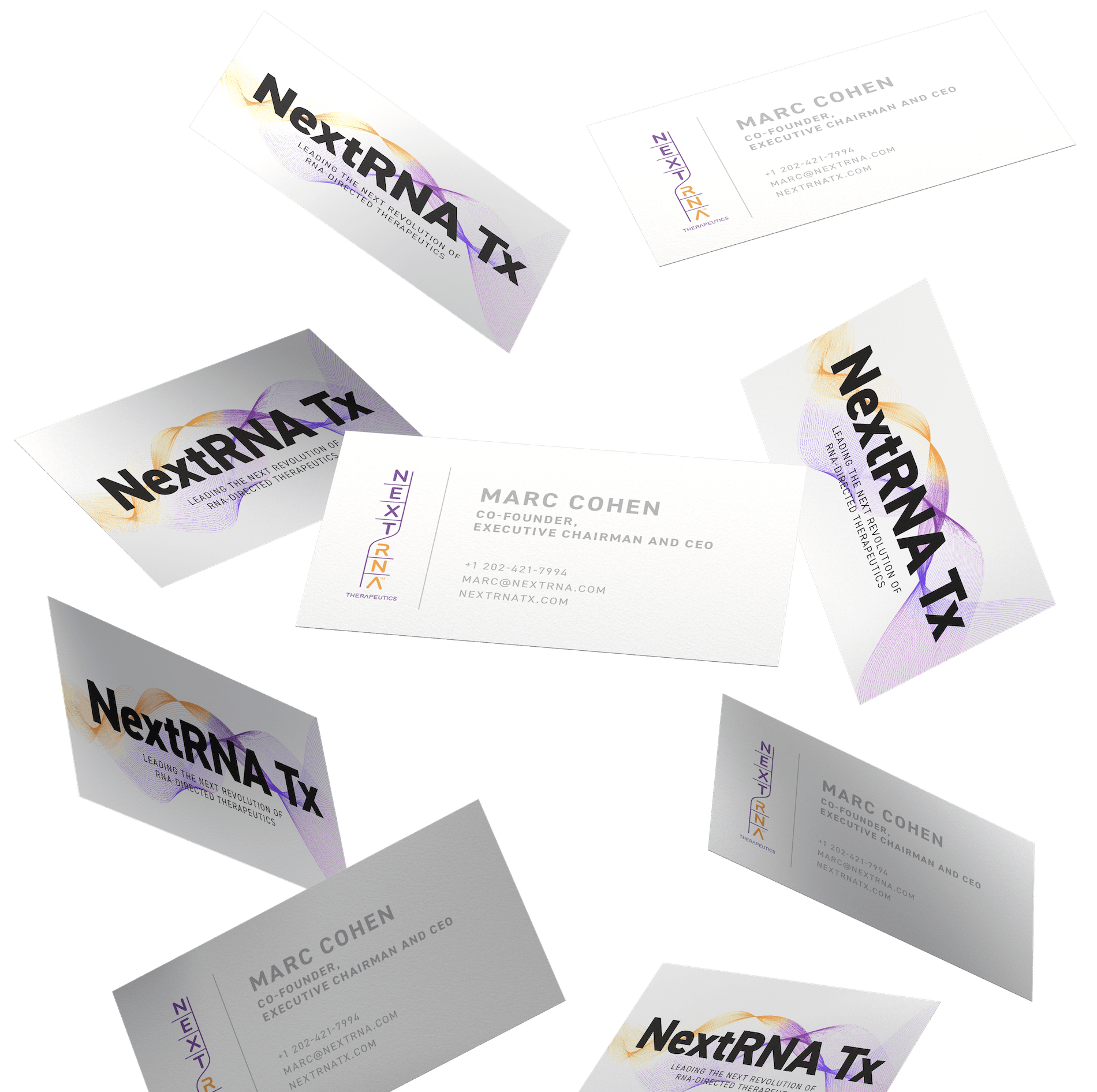 NextRNA Tx Business cards floating in the air