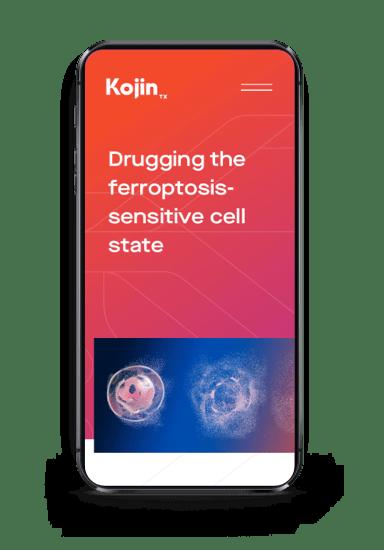 Kojin homepage on mobile screen