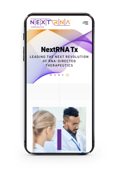 NextRNA homepage on a mobile screen