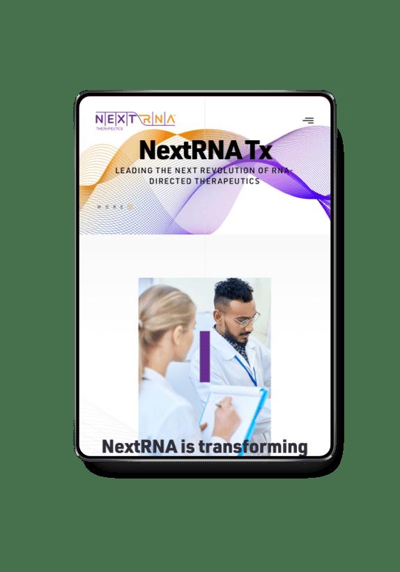 NextRNA homepage on a tablet