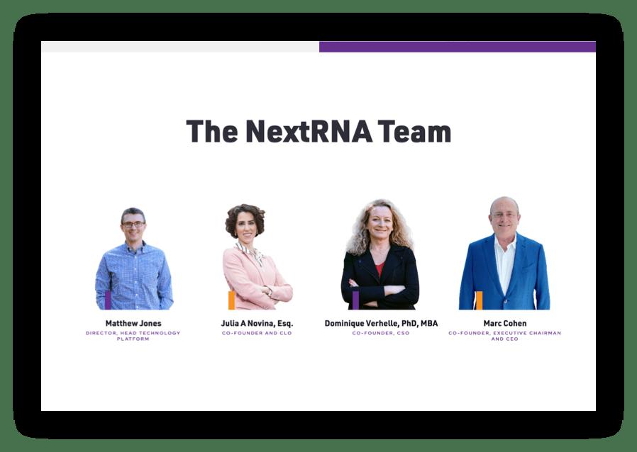 screenshot of NextRNA Team webpage