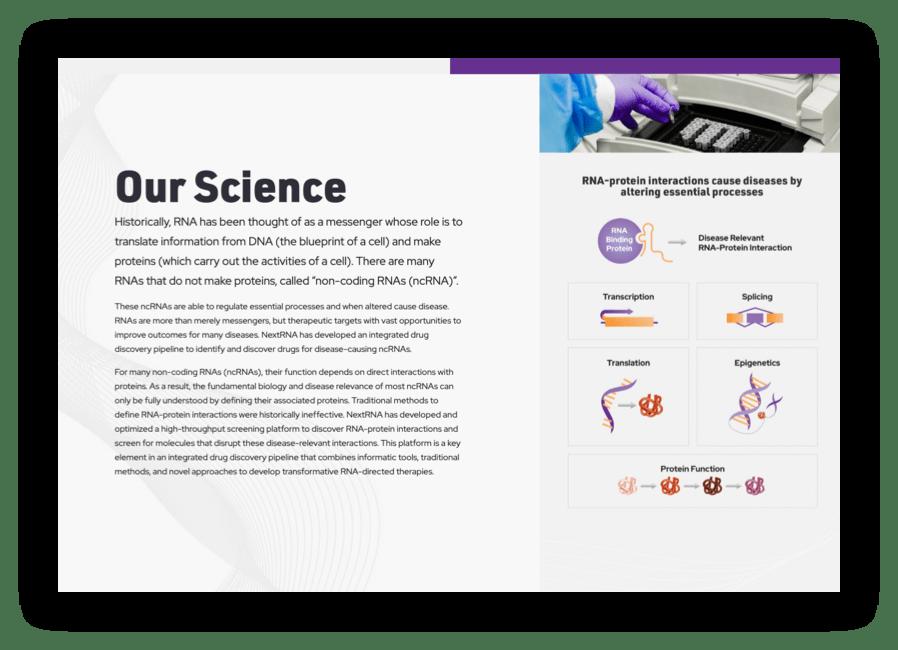screenshot of NextRNA science page