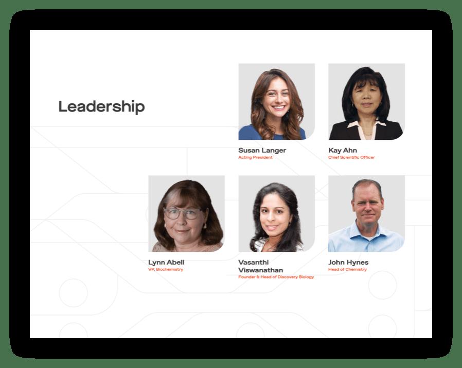 screenshot of Leadership team on Kojin website