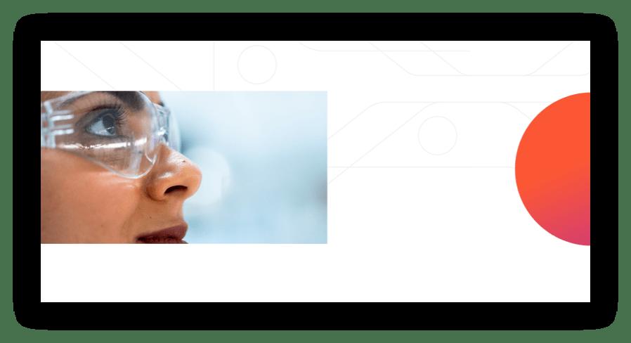 screenshot of Kojin website, image of scientist in glasses