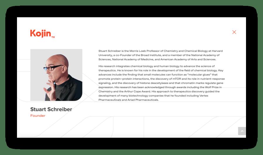 Screenshot - Bio of Stuart Schreiber